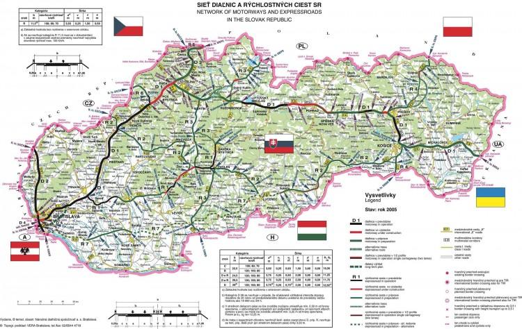 Mapa dálnic - klikni pro zvětšení